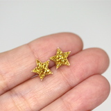 Plastic Post or Invisible Clip On, Metal Free Glitter Star Earrings, 10mm