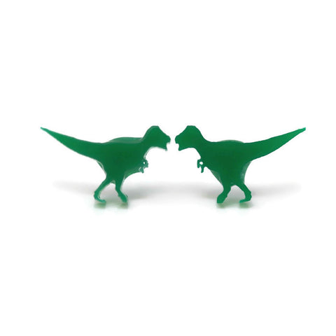 T-Rex Dinosaur Earrings, Plastic Post or Invisible Clip On, 10mm Metal Free
