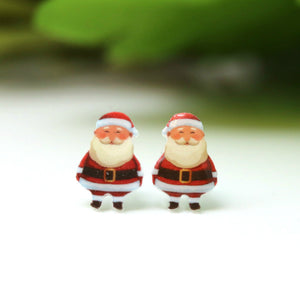 Plastic Post or Invisible Clip On Metal Free Santa / Snowman Earrings, 11mm