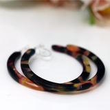Invisible Clip On Acetate Hoop Earrings for Non-Pierced Ears, 50mm
