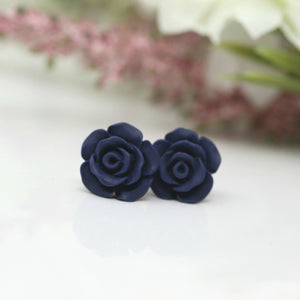 Plastic Post or Invisible Clip on Metal Free Earrings, Rose 13mm