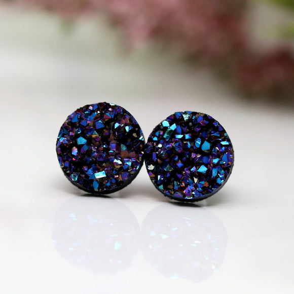 Plastic Posts or Invisible Clip On Druzy Earrings , 10mm