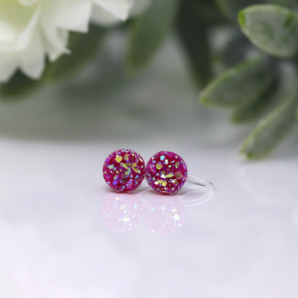 8mm Druzy Earrings Plastic Posts or Invisible Clip On, Your Choice of Colours