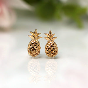Invisible Clip On or Plastic Post Stud Look Earrings, Pineapple Studs, 10mm