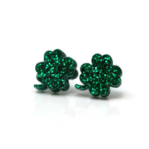 Plastic Post or Invisible Clip On, Metal Free Glitter Shamrock Earrings, 10mm