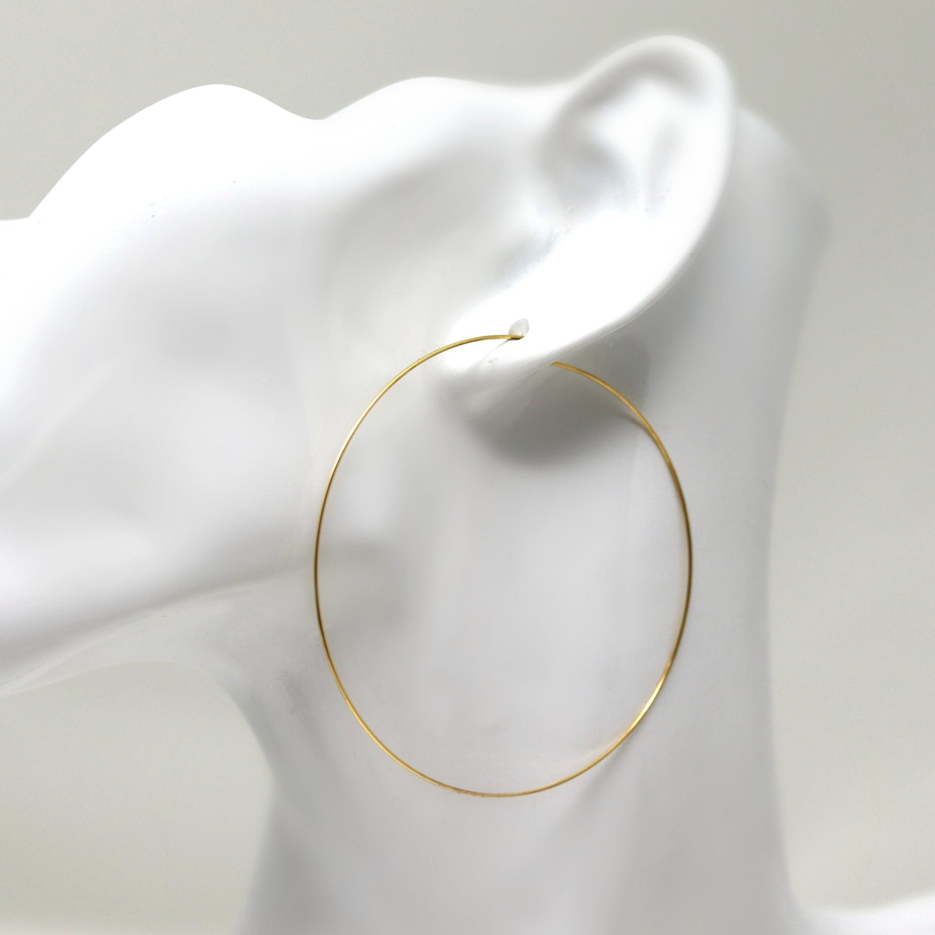 Gold-Tone 60mm Invisible Clip On Thin Wire Hoop Earrings for Non ...
