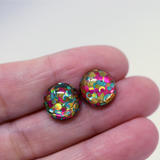 Plastic Post or Invisible Clip On Glitter Filled Resin Earrings, Metal Free 12mm