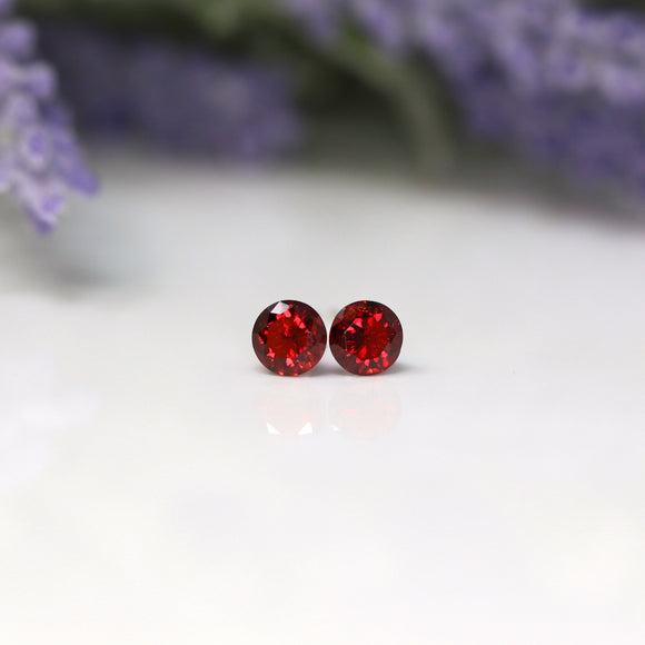 Plastic Post or Invisible Clip On Cubic Zirconia Garnet Earrings, 5mm January Birthstone