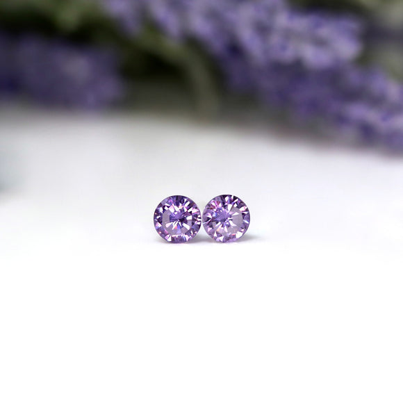 Plastic Post or Invisible Clip On Cubic Zirconia Amethyst Earrings, 5mm February Birthstone