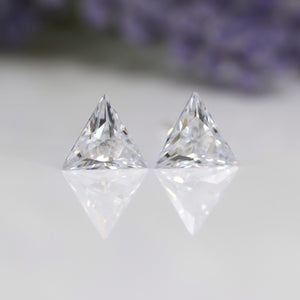 Plastic Post or Invisible Clip On Clear Cubic Zirconia Earrings, 8mm Triangle Cut