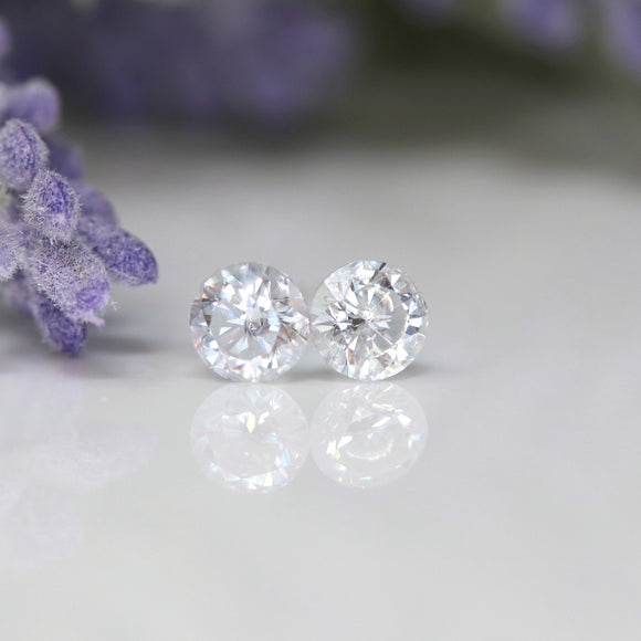 Plastic Post or Invisible Clip On Clear Cubic Zirconia Earrings, 5mm April Birthstone