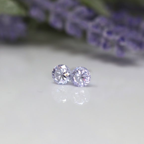 Plastic Post or Invisible Clip On Cubic Zirconia Alexandrite Earrings, 5mm June Birthstone