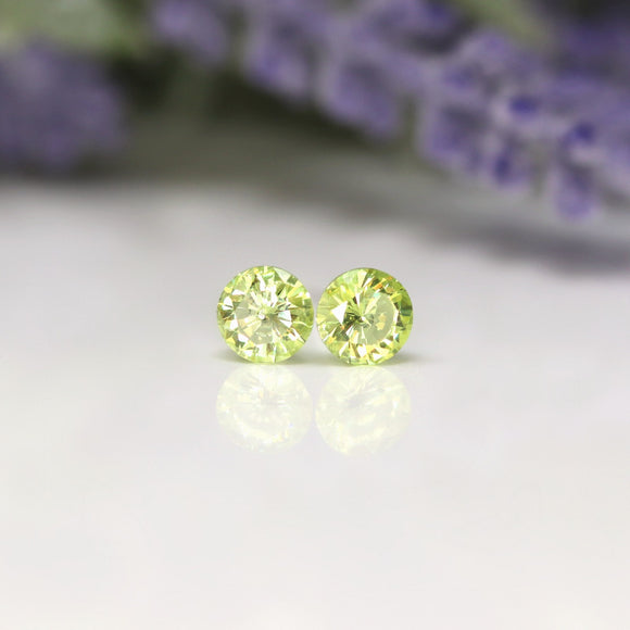 Plastic Post or Invisible Clip On Cubic Zirconia Peridot Earrings, 5mm August Birthstone