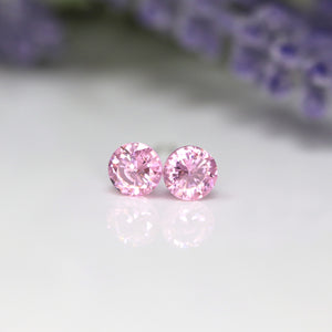 Plastic Post or Invisible Clip On Cubic Zirconia Tourmaline Earrings, 5mm October Birthstone