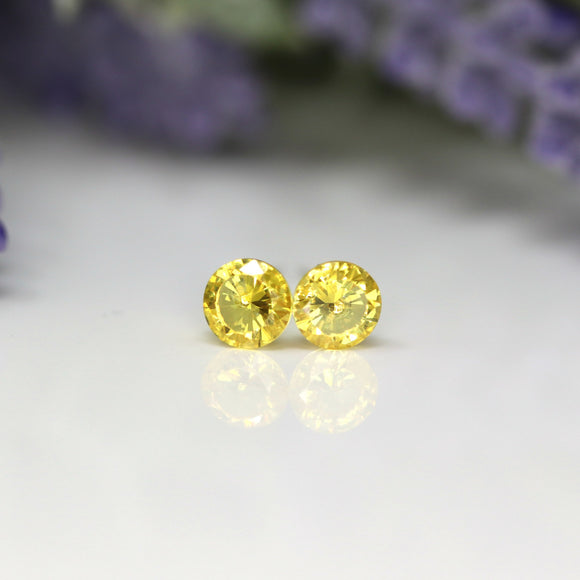 Plastic Post or Invisible Clip On Cubic Zirconia Yellow Topaz Earrings, 5mm November Birthstone