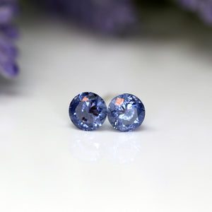 Plastic Post or Invisible Clip On Cubic Zirconia Tanzanite Earrings, 5mm December Birthstone