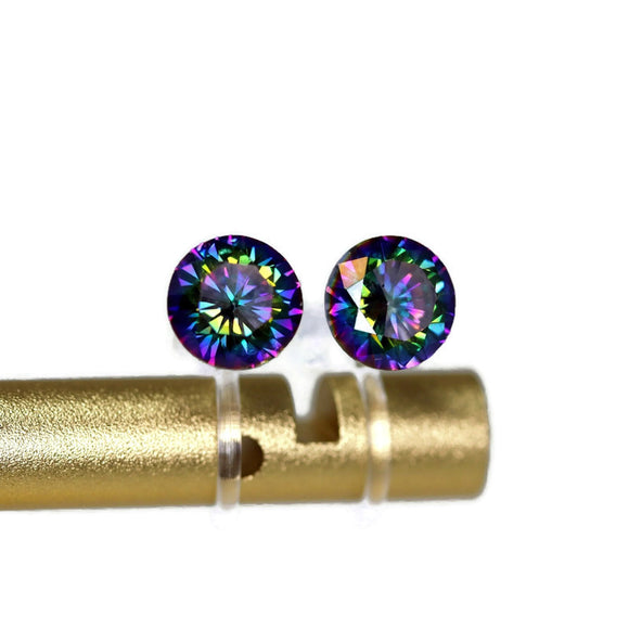 Plastic Posts or Invisible Clip On Multi-Color Cubic Zirconia Earrings, 6mm or 8mm