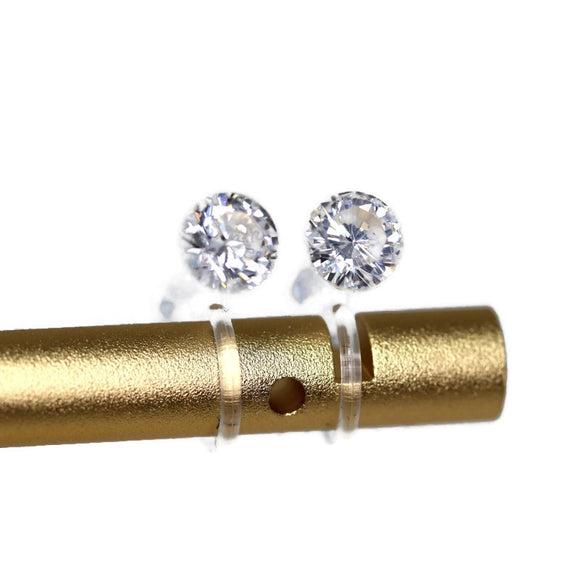 Plastic Posts or Invisible Clip On Clear Cubic Zirconia Earrings, 6mm or 8mm