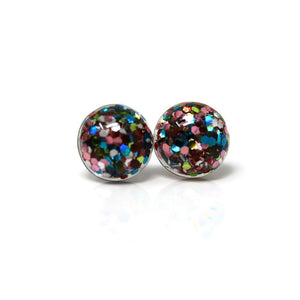 Plastic Post or Invisible Clip On Glitter Filled Resin Earrings, Metal Free 8mm or 10mm