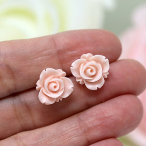 Plastic Posts or Invisible Clip On Metal Free Earrings, Rose Bud
