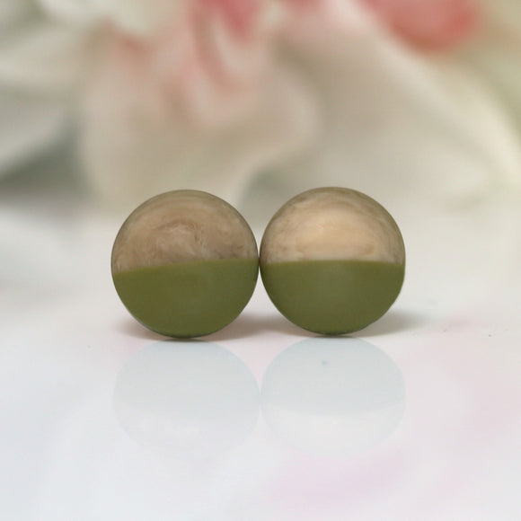 Plastic Post or Invisible Clip On Color Block Cabochon Earrings 12mm