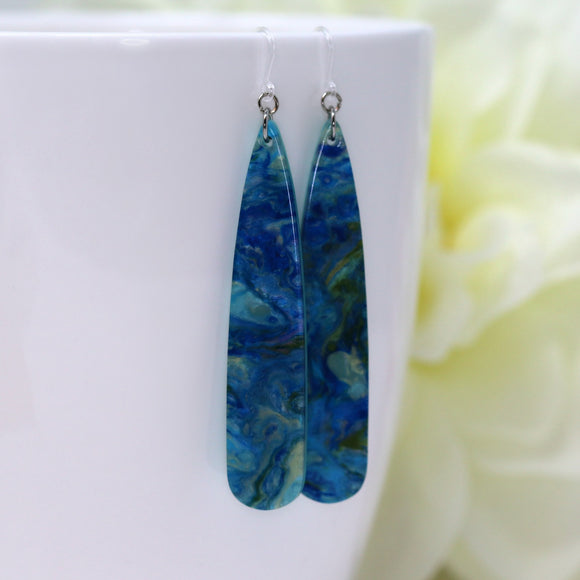 Invisible Clip On or Plastic Hooks Dangle Earrings Acetate Elongated Teardrop, 60mm