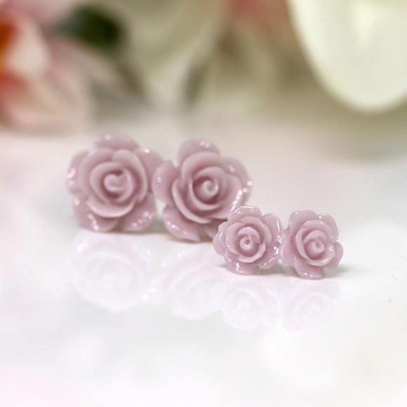 Plastic Posts or Invisible Clip Ons Metal Free Lilac Rose Floral Earrings, 10mm, 15mm