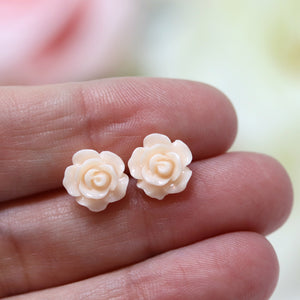 Plastic Posts or Invisible Clip Ons Metal Free Blush Rose Floral Earrings, 10mm, 15mm