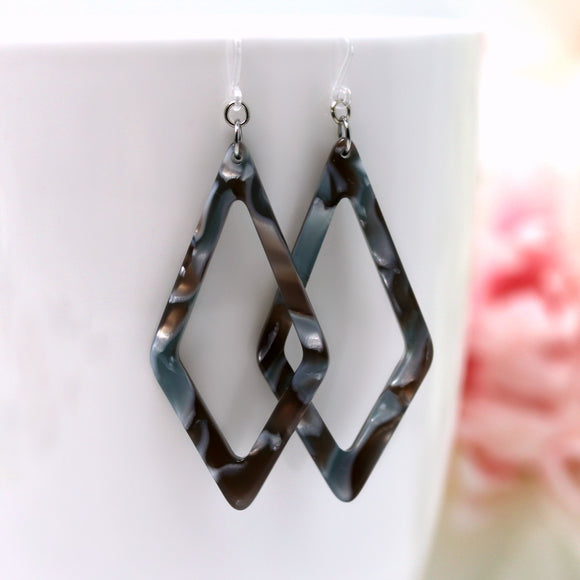 Invisible Clip On or Plastic Hooks Dangle Earrings, Acetate Rhombus, 60mm