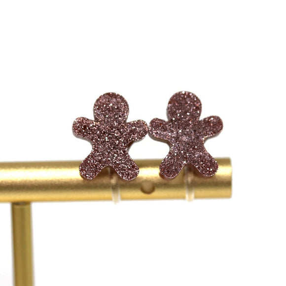 Plastic Post Glitter Gingerbread Man Earrings, Metal Free 10mm