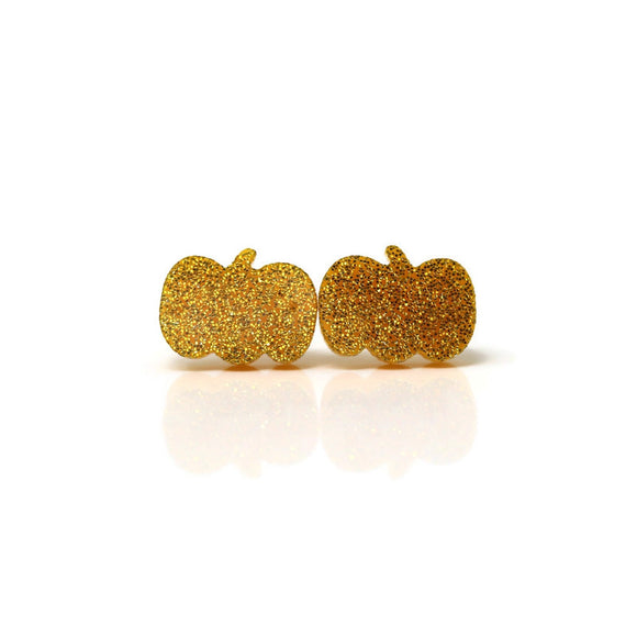 Plastic Post or Invisible Clip On, Metal Free Glitter Pumpkin Earrings, 12mm