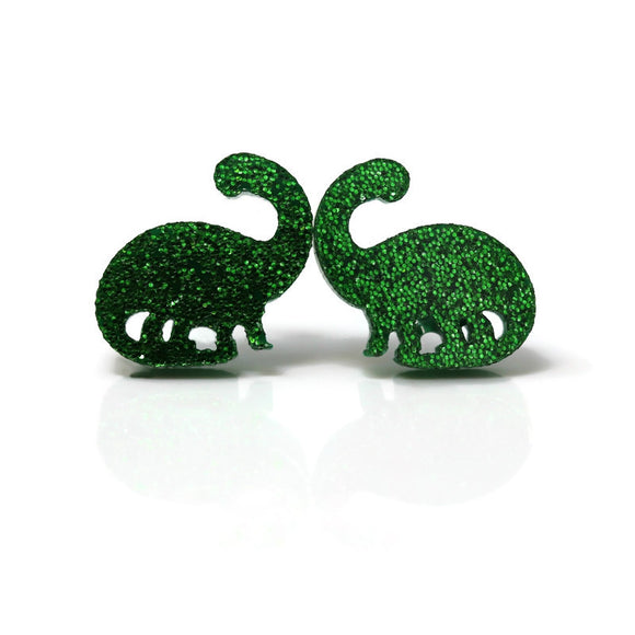 Plastic Post or Invisible Clip On, Metal Free Glitter Dinosaur Earrings, 12mm