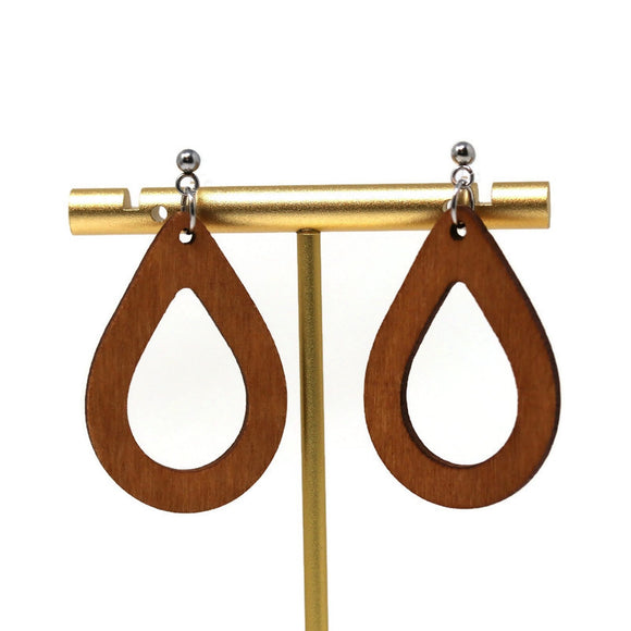 Invisible Clip On or Plastic Post Dangle Earrings, Wood Open Teardrop, 50mm