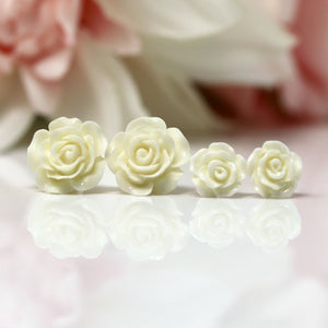 Plastic Posts or Invisible Clip Ons Metal Free Winter White Rose Floral Earrings, 10mm, 15mm