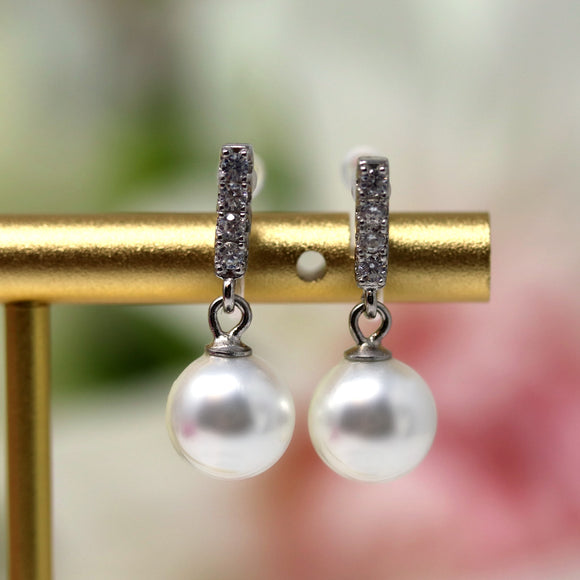 Invisible Clip On Earrings, Cubic Zirconia and Shell Pearl Drop