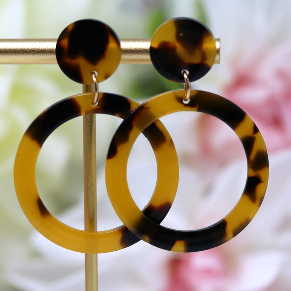 Invisible Clip On or Plastic Post Dangle Earrings, Acetate Circle, 55mm