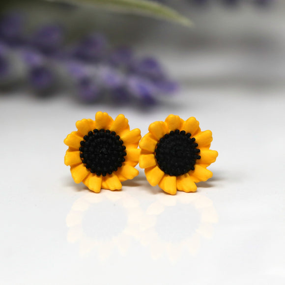 Plastic Post or Invisible Clip On Sunflower Earrings 10mm