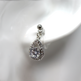 Invisible Clip On Earrings, Pear-Shaped Rhinestone Halo Drop
