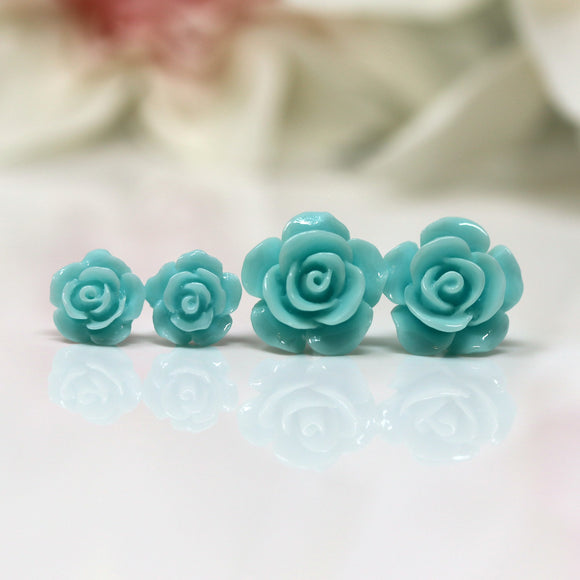 Plastic Posts or Invisible Clip Ons Metal Free Aqua Rose Floral Earrings, 10mm, 15mm