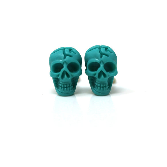 Plastic Post or Invisible Clip On Metal Free Skull Earrings