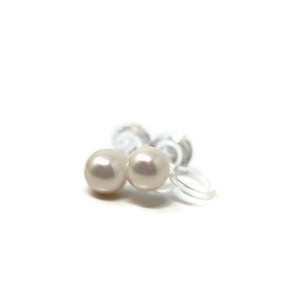 6mm Double Sided Invisible Clip On Metal Free Shell Pearl and Cubic Zirconia Earrings