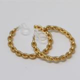 Invisible Clip On Chain Hoop Earring for Non-Pierced Ears, 33mm