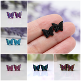 Plastic Post or Invisible Clip On Metal Free Butterfly Earrings