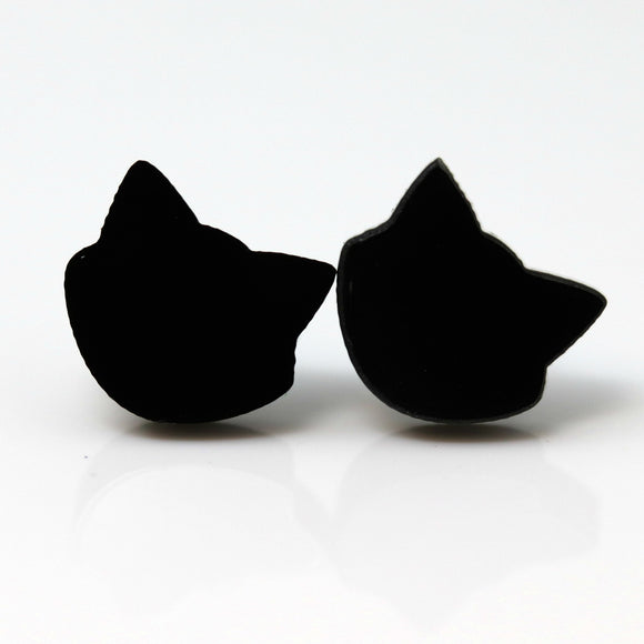 Plastic Post or Invisible Clip On Metal Free Black Cat Earrings, 12mm