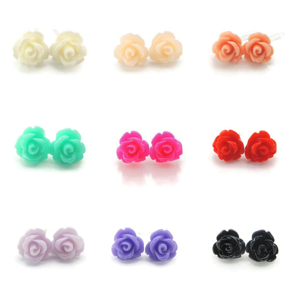 Plastic Posts or Invisible Clip Ons Metal Free Rose Floral Earrings, 9mm