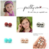 10mm Plastic Post or Invisible Clip On, Metal Free Shell Pearl Earrings