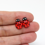 Plastic Post or Invisible Clip On Metal Free Ladybug Earrings 9mm