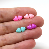 Plastic Posts or Invisible Clip On Metal Free Tiny Heart Earrings, 6mm