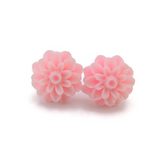 Plastic Posts or Invisible Clip On Metal Free Dahlia Floral Earrings, 15mm