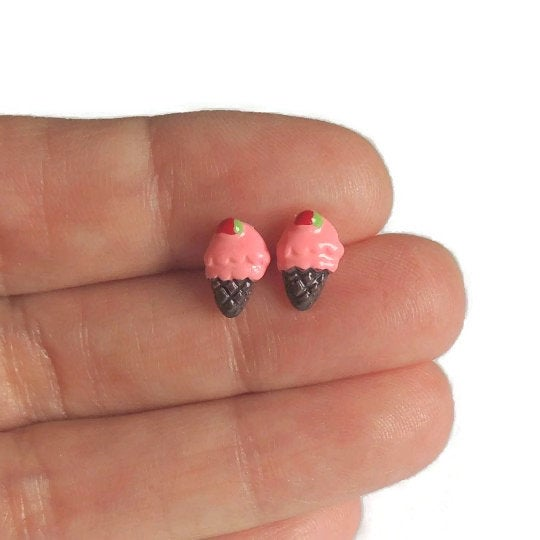 Plastic Post Earrings or Invisible Clip On Metal Free Pink Ice Cream Cone Studs, 10mm